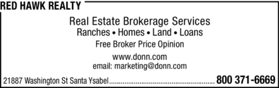 Print Ad of Red Hawk Realty