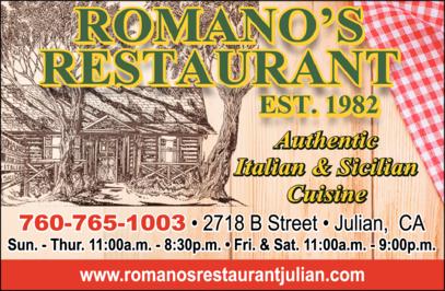 Print Ad of Romano's Restaurant